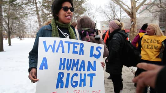 Demonstrators protest over the Flint, Michigan contaminated water crisis, March 6, 2015.