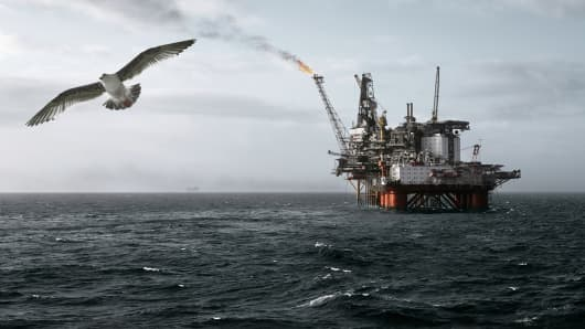 Offshore oil rig Norway North Sea