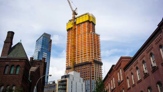 An apartment building under construction in Brooklyn, New York.