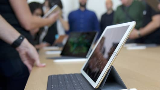 The newest iPad Pro, with a smaller 9.7-inch screen, is introduced at an Apple Event in Cupertino, CA on March 21, 2016.