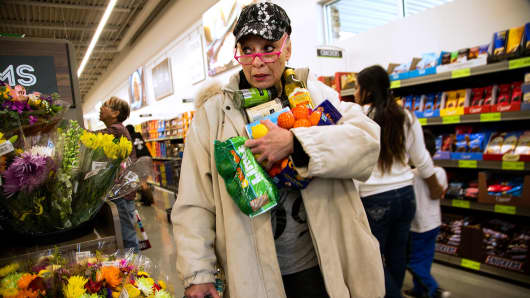 A shopper at the Aldi food market in Moreno Valley, California.