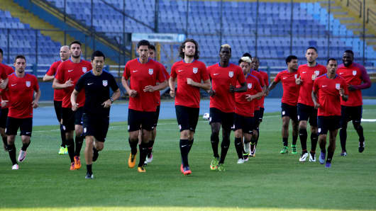 U.S. players attend a training session ahead of their 2018 World Cup qualifier soccer match against Guatemala earlier this week.