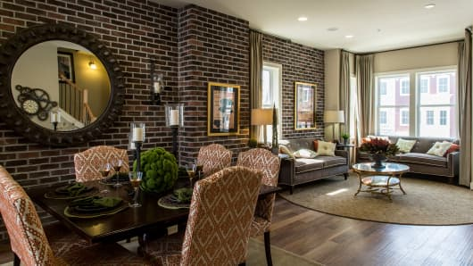 Staging can run anywhere from $500 to $6,000. Above, the Executive-style model home at Potomac Yard, a development of luxury townhomes in Alexandria, Virginia.