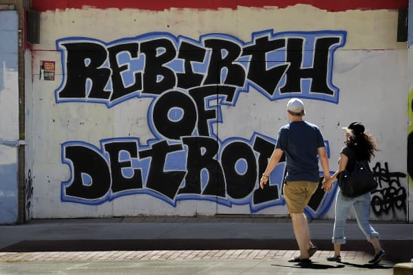 A mural in downtown Detroit speaks of the hope that many have for a comeback for the city that has endured so many setbacks.