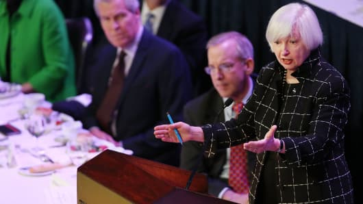 Federal Reserve Board Chairwoman, Janet Yellen speaks at the Economic Club of New York on March 29, 2016 in New York City.