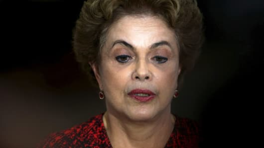 Brazil's President Dilma Rousseff attends a news conference at the Planalto Palace in Brasilia, Brazil, March 16, 2016.