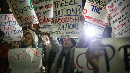 Students protest ballooning student loan debt for higher education and rally for tuition-free public colleges in New York