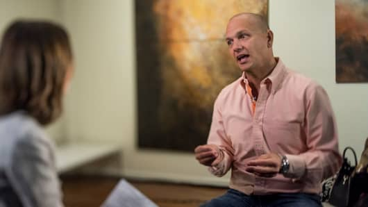 Tony Fadell, founder and chief executive officer at Nest Labs Inc., speaks during a Bloomberg West television interview in this photo taken with a tilt-shift lens in San Francisco, California, U.S., on Wednesday, June 17, 2015.