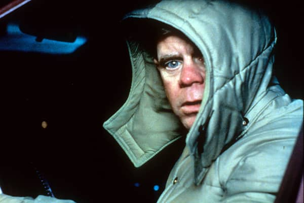 William H Macy bundled up in car in a scene from the film 'Fargo', 1996.