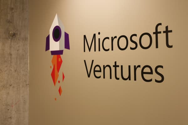 Microsoft Ventures signage in the Lionheart offices in Seattle, Washington.