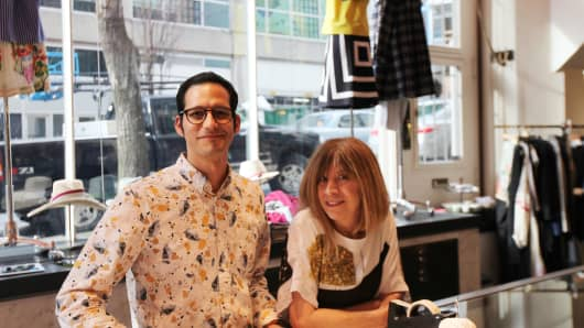 Garmentory CEO John Scrofano and Jill Donnelly, owner of Baby & Co., a clothing boutique in Seattle
