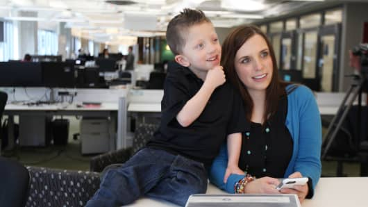 "Tammy Bowers, CEO of LionHeart Innovations, with her son Landen ""Lion"" Bowers. LionHeart is a medical collaboration app that enables caregivers to seamlessly keep track of medications and other needs."