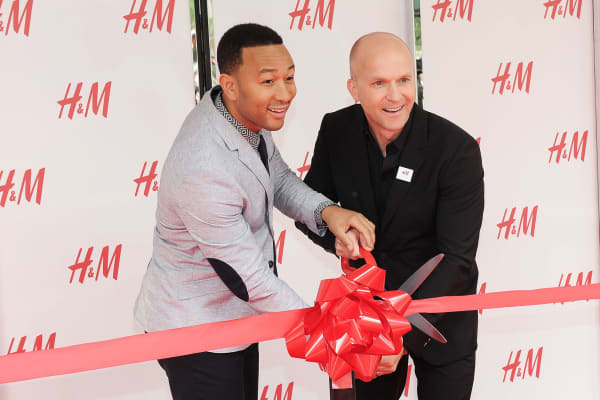 Singer John Legend and President of North America H&M, Daniel Kulle attend the H&M Herald Square Flagship Store Grand Opening at H&M Herald Square on May 20, 2015 in New York City.