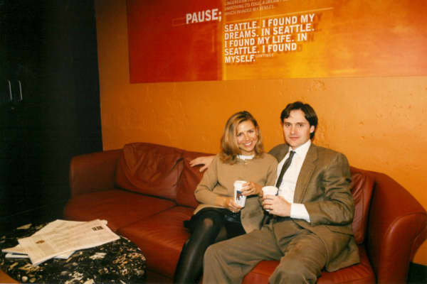 The entrepreneurial duo pictured in a Seattle Coffee Company location back before they sold the chain to Starbucks.