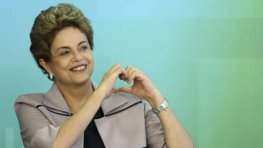 Brazil's President Dilma Rousseff at the Planalto Palace in Brasilia, Brazil, March 31, 2016.