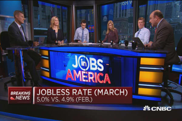 March jobless rate 5.0% vs. 4.9% in February