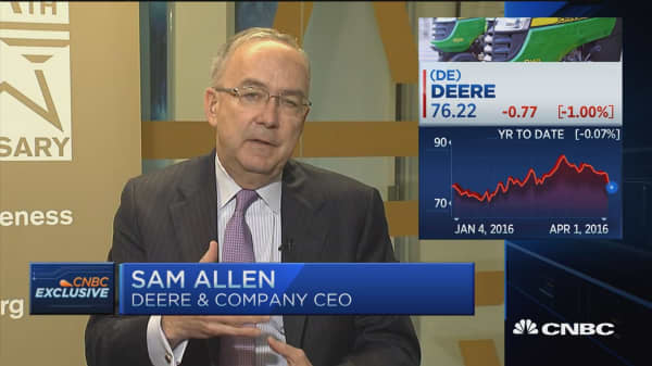 Deere CEO: US is improving but not on steady footing