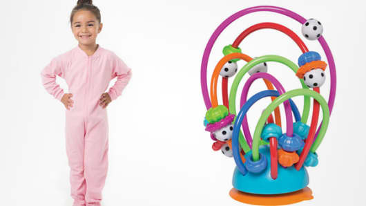 Children's products: Creating X Children;s onesie pajamas (l) and Manhattan Toy Busy Loops (r).