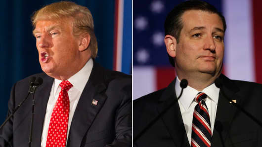 Republican candidates Donald Trump (l) and Ted Cruz (r).