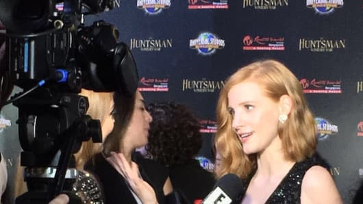 "Jessica Chastain, speaks to a reporter at the Asia premier of ""The Huntsman: Winter's War."""