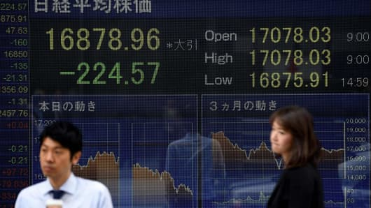 People walk past a board flashing the Nikkei key index of the Tokyo Stock Exchange (TSE) in front of a securities company in Tokyo.