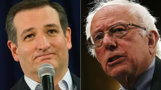 Republican candidate Sen. Ted Cruz (l) and Democratic candidate Sen. Bernie Sanders (r).
