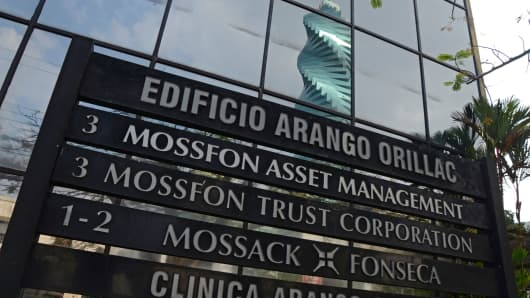 The sign in front of the building that houses law firm Mossack Fonseca in Panama City, Panama.