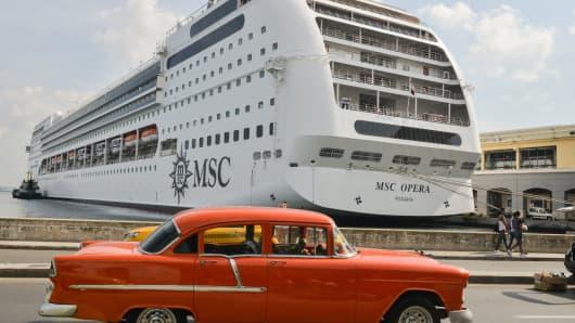 MSC Opera cruise is seen after her arrival to Havana harbor on December 18, 2015