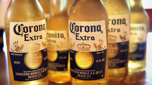 Corona beer, owned by Constellation Brands.
