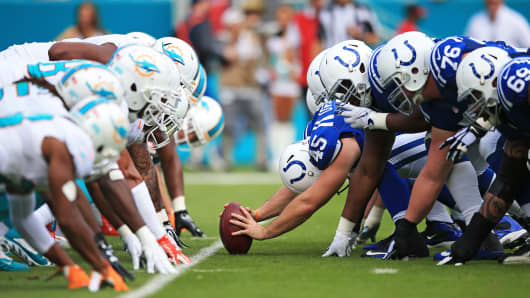 Colts v Miami NFL football hike the ball