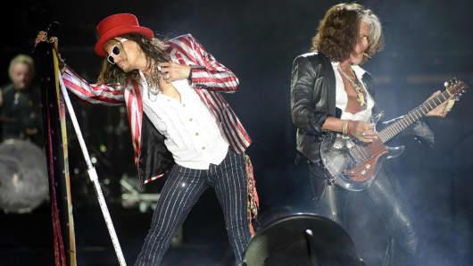 Steven Tyler (L) and Joe Perry of Aerosmith perform last July.