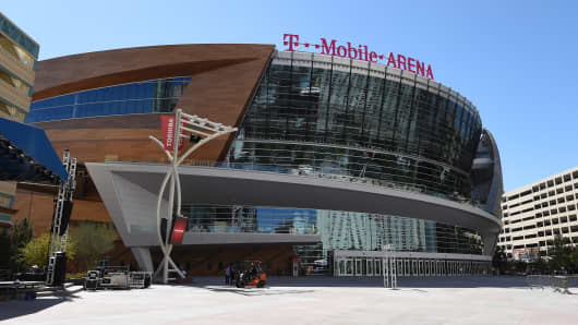 A general view shows T-Mobile Arena on April 5, 2016 in Las Vegas, Nevada. The USD 375 million, 20,000-seat sports and entertainment venue, a joint venture partnership between MGM Resorts International and AEG, opens on April 6.