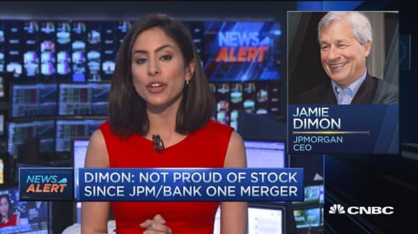 Dimon: Not proud of stock since JPM/Bank One merger
