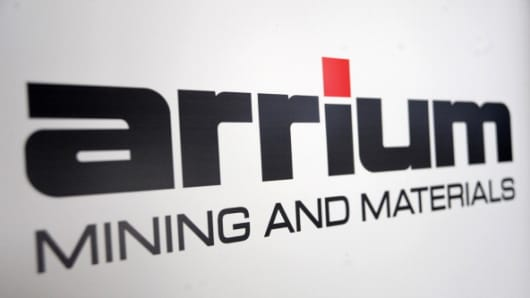 The Arrium Ltd. logo is displayed on a banner at the company's annual general meeting in Melbourne, Australia, on Monday, Nov. 19, 2012