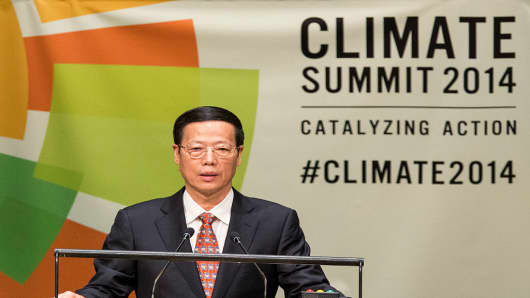 Chinese Vice Premier Zhang Gaoli speaks at the United Nations Climate Summit on September 23, 2014 in New York City.