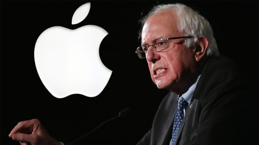 Democratic presidential candidate targets Apple Inc. for manufacturing Apple products in China.
