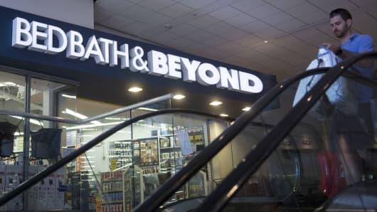 A shopper walks past a Bed Bath & Beyond Inc. store
