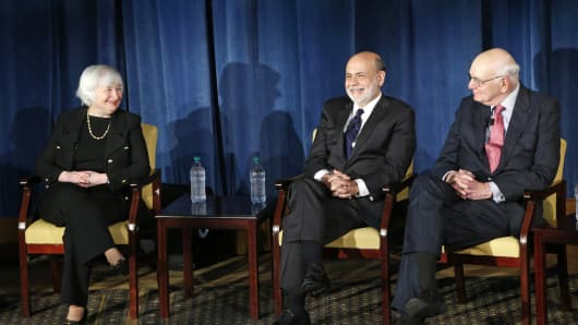 Federal Reserve chair Janet Yellen (L to R) and former Federal Reserve chairs Ben Bernanke and Paul Volcker appear together for the first time in New York, April 7, 2016. The panel is geared toward millennials and focused on decision-making with international implications.