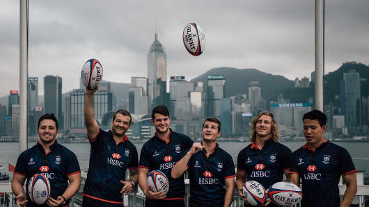 Members of Hong Kong's rugby team at a Hong Kong Rugby Sevens 'kick off' event on April 7, 2016