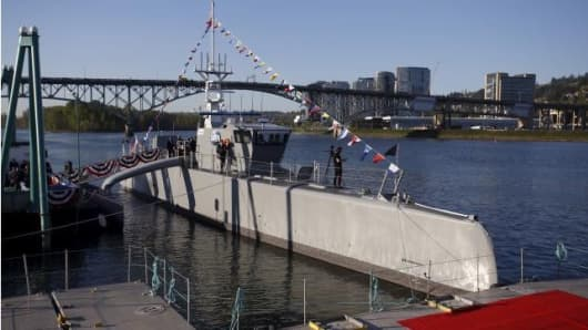 The autonomous ship 'Sea Hunter' developed by DARPA docked in Portland, Oregon.