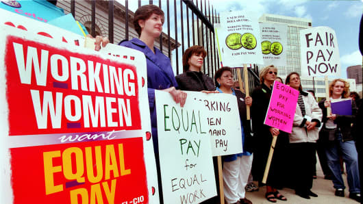 Women protest for equal pay