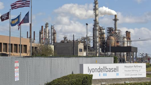 A general view of the Lyondell-Basell refinery in Houston, Texas.