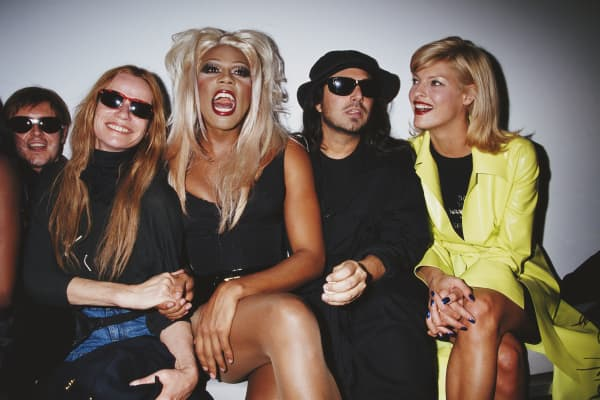 Cosmetics company founder François Nars, German model and actress Veruschka von Lehndorff, American actor, model, and recording artist RuPaul, American fashion photographer Steven Meisel, and Canadian model Linda Evangelista, circa 1996.