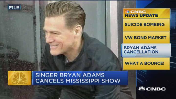 CNBC update: Bryan Adams cancels Mississippi show