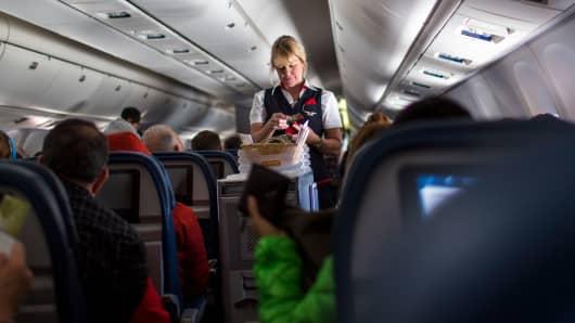 A Delta Airlines stewardess
