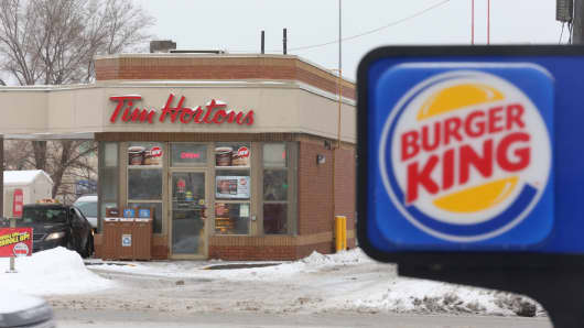 Exterior pictures of both Tim Hortons and Burger King(in the same frame) located across the street from one another on the Queensway in Etobicoke.