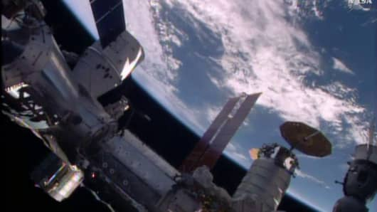 The SpaceX Dragon approaches the International Space Station on April 10, 2016.