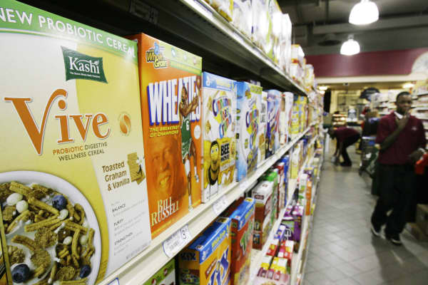 A box of the Kashi Company's Vive probiotic digestive wellness cereal is seen on a grocery shelf in Chicago.