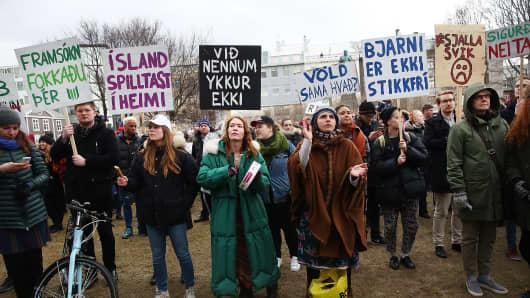 Protests on April 5, 2016 in Reykjavik, Iceland.
