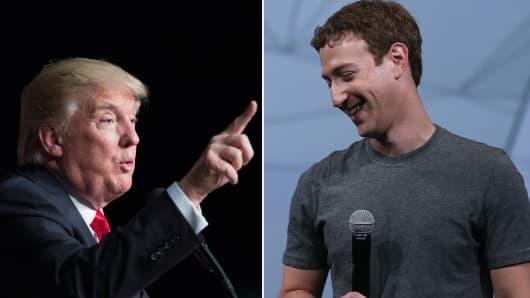 Donald Trump (l) and Mark Zuckerberg (r).
